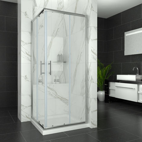 ELEGANT 900 x 900 Shower Enclosure Corner Entry Shower Cubicle and Tray Sliding Shower Doors with Tray