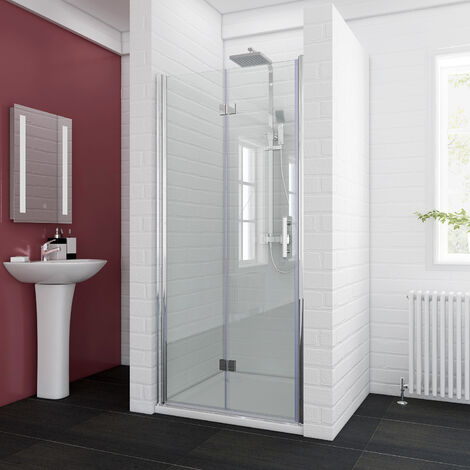 ELEGANT 900 x 900mm Bifold Shower Enclosure Glass Shower Door Reversible Folding Cubicle Door with Shower Tray