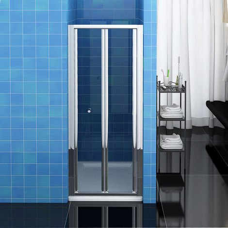 ELEGANT 900mm Bi-Fold Shower Door Enclosure Glass Reversible Folding Cubicle