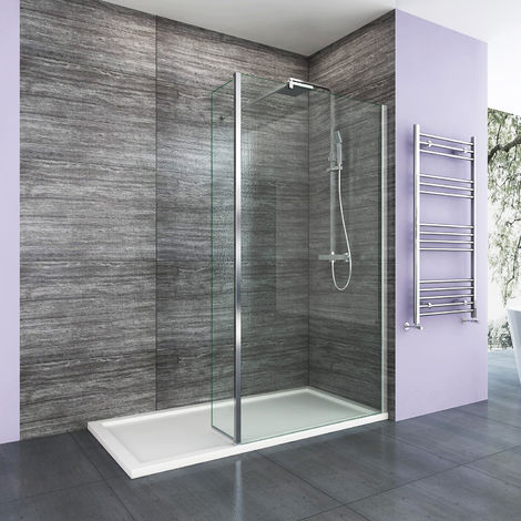 ELEGANT 900mm Frameless Wet Room Shower Screen 8mm Easy Clean Glass Walk in Shower Screen with 300mm Return Panel and Support Bar
