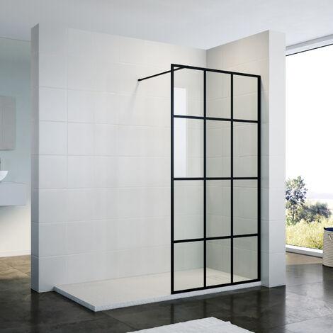 ELEGANT 900mm Walk in Shower Door Wet Room Reversible Shower Screen Panel 8mm Safety Glass Matte Black Walkin Shower Enclosure Cubicle with 1400x700mm Anti-Slip Resin Shower Tray