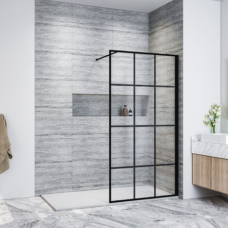 ELEGANT 900mm Walk in Shower Door Wet Room Reversible Shower Screen Panel 8mm Safety Glass, Matte Black Walkin Shower Enclosure Cubicle with 1500x700mm High Qualiy Anti-Slip Resin Shower Tray