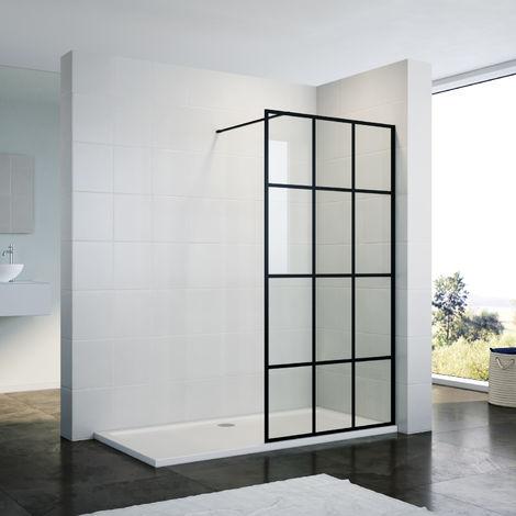 ELEGANT 900mm Walk in Shower Door Wet Room Reversible Shower Screen Panel 8mm Safety Glass Matte Black Walkin Shower Enclosure Cubicle with 1500x700mm Shower Tray