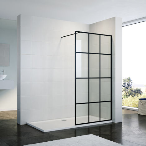 ELEGANT 900mm Walk in Shower Door Wet Room Reversible Shower Screen Panel 8mm Safety Glass Matte Black Walkin Shower Enclosure Cubicle with 1500x900mm Shower Tray