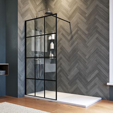 ELEGANT 900mm Walk in Shower Door Wet Room Reversible Shower Screen Panel 8mm Safety Glass Matte Black with 1400x700mm Anti-Slip Resin Shower Tray