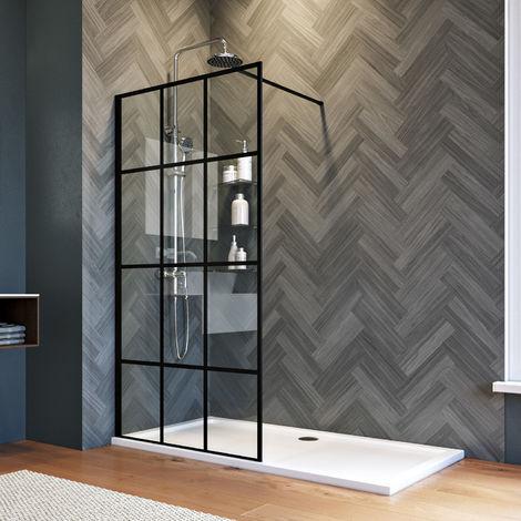 ELEGANT 900mm Walk in Shower Door Wet Room Reversible Shower Screen Panel 8mm Safety Glass Matte Black with 1400x700mm Shower Tray