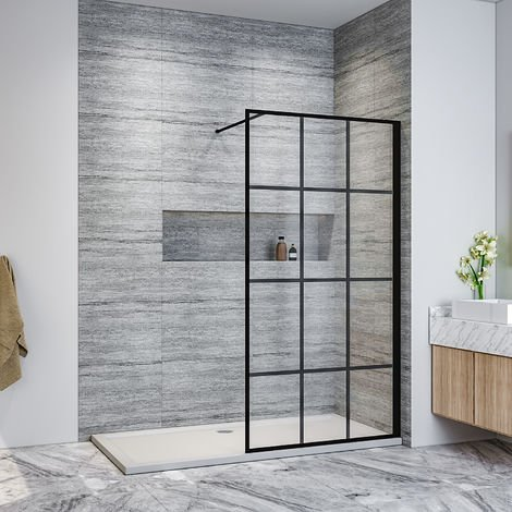 ELEGANT 900mm Walk in Shower Door Wet Room Reversible Shower Screen Panel 8mm Safety Glass with 1000mm Support Bar, Matte Black Walkin Shower Enclosure Cubicle with 1700x900mm Shower Tray