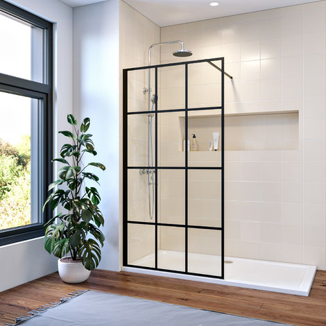 ELEGANT 900mm Walk in Shower Door Wet Room Reversible Shower Screen Panel 8mm Safety Glass with 1000mm Support Bar Matte Black Walkin Shower Screen with 1400x700mm Shower Tray