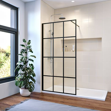 ELEGANT 900mm Walk in Shower Door Wet Room Reversible Shower Screen Panel 8mm Safety Glass with 1000mm Support Bar Matte Black Walkin Shower Screen with 1600x700mm Shower Tray