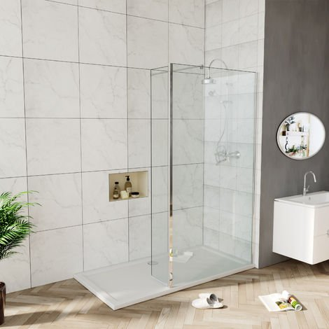 Elegant 900mm Walk in Shower Screen 6mm Tougheded Safety Wet Room with 300mm Flipper Panel,Aluminum Support bar Included