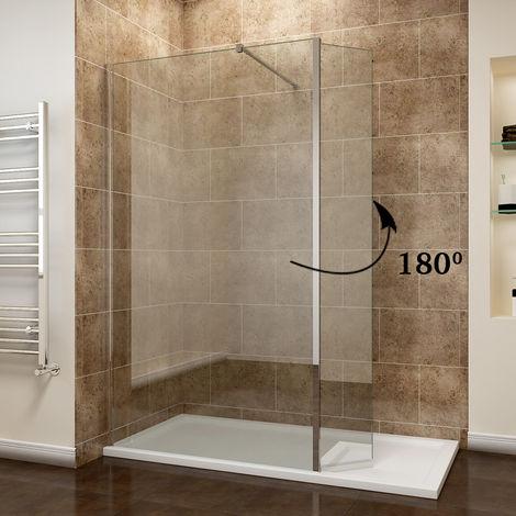ELEGANT 900mm Walk in Shower Screen Panel 8mm Easy Clean Glass Wetroom Shower Enclosure 300mm Flipper Panel + 1400x760mm Shower Tray + Waste