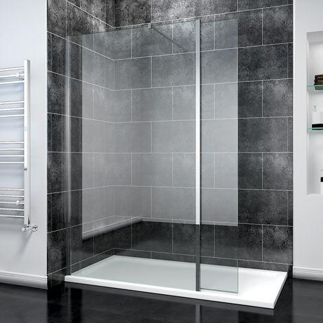 ELEGANT 900mm Walk in Shower Screen Panel 8mm Easy Clean Glass Wetroom Shower Enclosure 300mm Flipper Panel + 1700x900mm Shower Tray + Waste