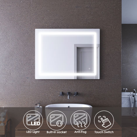 ELEGANT 900x700mm Illuminated LED Bathroom Mirror Lights Curved Edge Design Backlit Shaver Socket Bath Vanity Wall Mounted Mirrors with Touch Switch Heated Demister Pad