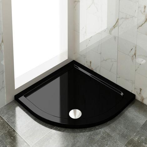 Elegant 900x900mm Quadrant Shower Enclosure Cubicle Black Tray + Waste