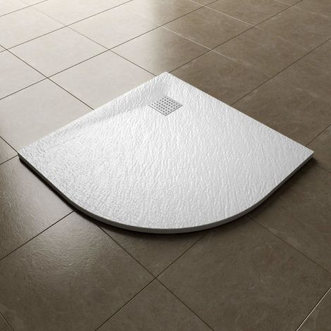 ELEGANT 900x900mm White Slate Effect Lightweight Slate Shower Base Quadrant Grain Shower Enclosure Tray with Waste Trap and 304 S.S Cover