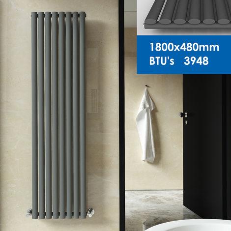 ELEGANT Anthracite Radiator Oval Column Kitchen Heater Designer