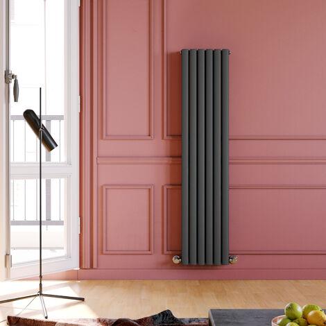 ELEGANT Anthracite Radiators Double 1600 x 360mm Oval Column Kitchen Panel Heater Designer Vertical Radiator