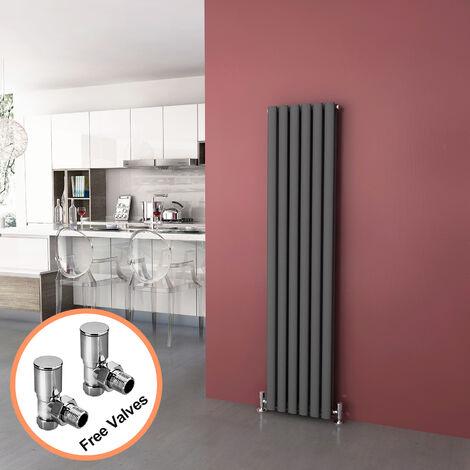 ELEGANT Anthracite Radiators Double 1600 x 360mm Oval Column Kitchen Panel Heater Designer Vertical Radiator + Angled Radiator Valves