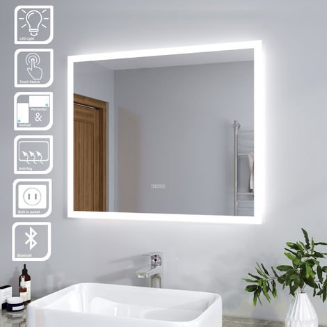 ELEGANT Anti-foggy Wall Mounted 600 x 500mm Mirror,Frontlit LED Illuminated Bathroom Mirror Bluetooth Audio Included