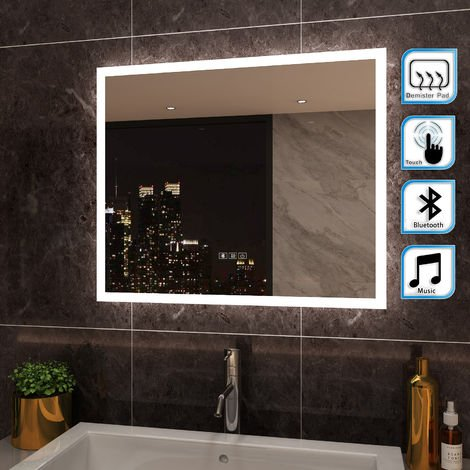 ELEGANT Anti-foggy Wall Mounted 600 x 500mm Mirror,Frontlit LED Illuminated Bathroom Mirror with Bluetooth Audio