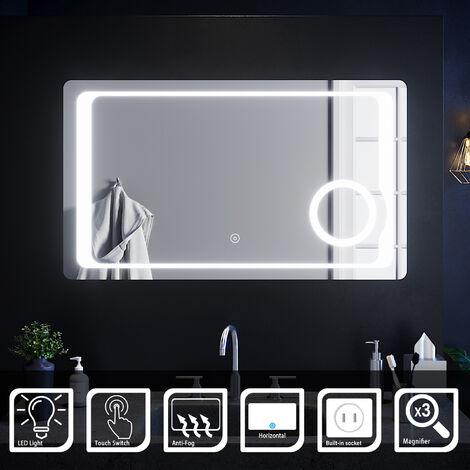 ELEGANT Anti-foggy Wall Mounted Mirror 1000 x 600mm Frontlit LED Illuminated Bathroom Mirror with 230V Shaver Socket, 3 Times Magnifying