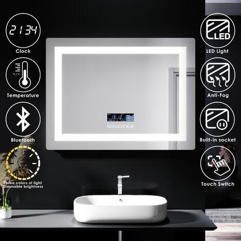 "main image of ""ELEGANT Anti-foggy Wall Mounted Mirror LED Illuminated Bathroom Mirror with Bluetooth Audio"""