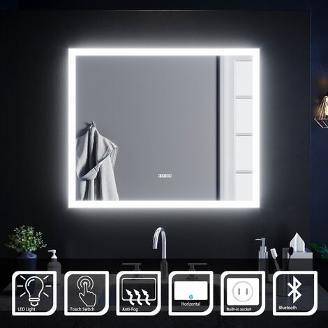 ELEGANT Anti-foggy Wall Mounted Mirror LED Illuminated Bathroom Mirror with Bluetooth Audio
