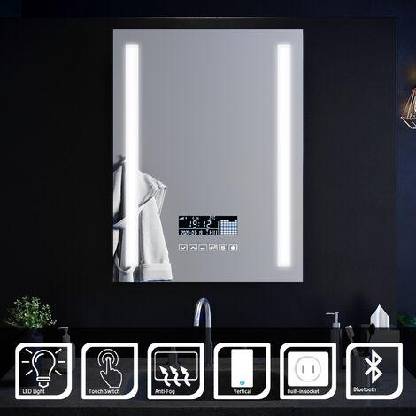 ELEGANT Anti-foggy Wall Mounted Mirror LED Illuminated Bathroom Mirror with Bluetooth Audio