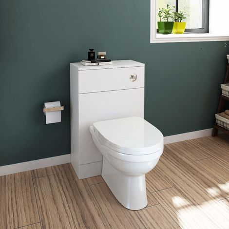 ELEGANT Back to Wall White D shaped Ceramic Toilet with Matte White Concealed Cistern Unit Bathroom Furniture