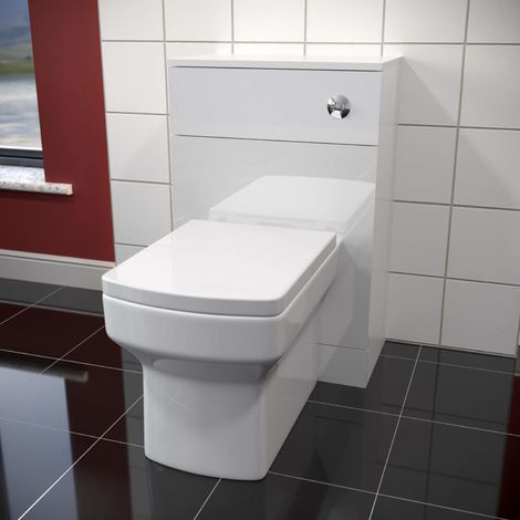 ELEGANT Back to Wall White Square shaped Ceramic Toilet with Matte White Concealed Cistern Unit Bathroom Furniture