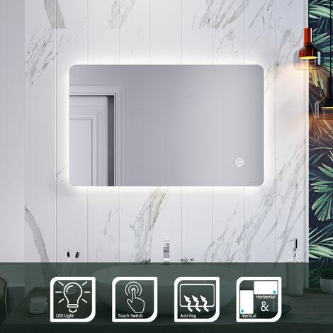 ELEGANT Backlit LED Illuminated Bathroom Mirror 800 x 500mm with Light Sensor + Demister