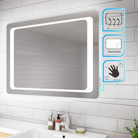 ELEGANT Backlit LED Illuminated Bathroom Mirror 900 x 600mm with Light Sensor + Demister