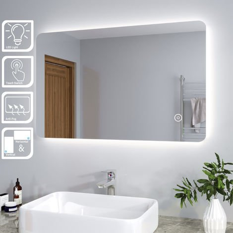 ELEGANT Backlit LED Illuminated Bathroom Mirror with Light Sensor + Demister 800 x 500mm