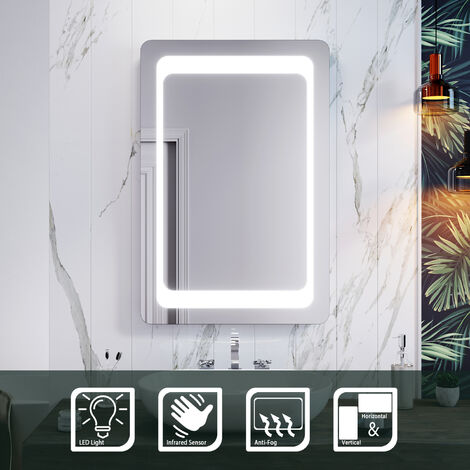 ELEGANT Backlit LED Illuminated Bathroom Mirror with Light Sensor + Demister 900 x 600mm