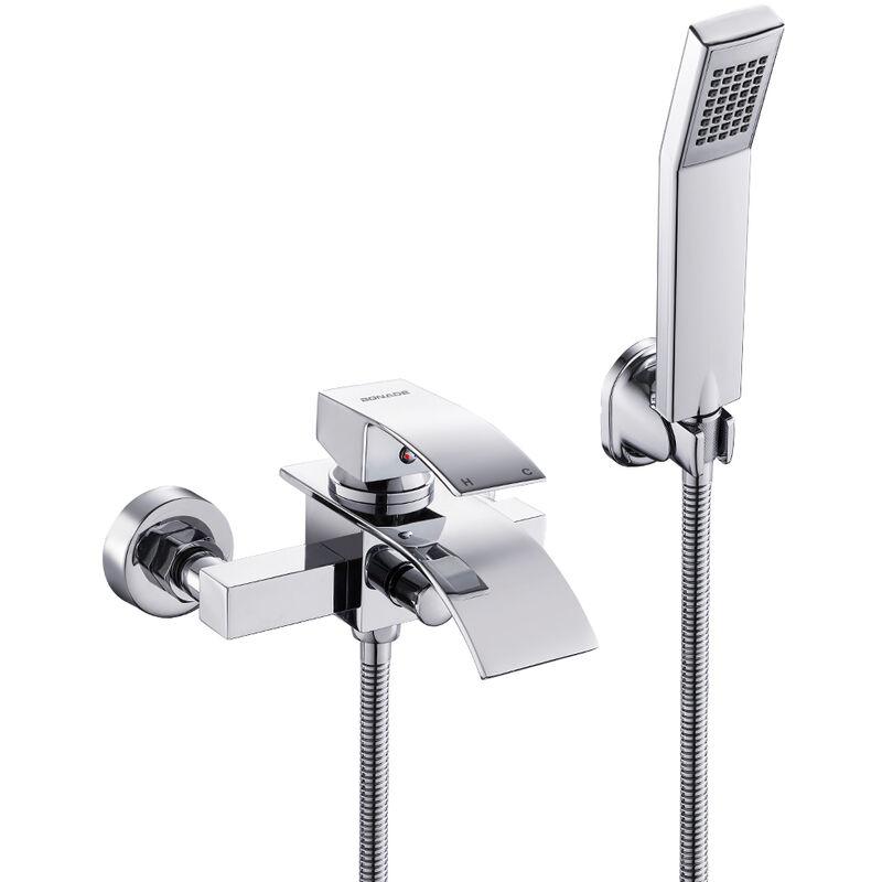 Elegant Badewannenarmatur Wasserfall mit Brause, WOOHSE Mischbatterie Badewanne Armatur inkl ...