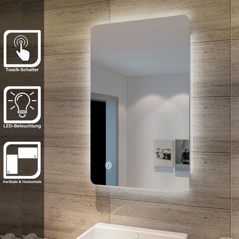 Elegant Badspiegel mit Beleuchtung Lichtspiegel LED Spiegel 80 x 50 cm kaltweiß IP44 Badezimmer Wandspiegel mit Touch-Schalter Beschlagfrei Badezimmerspiegel