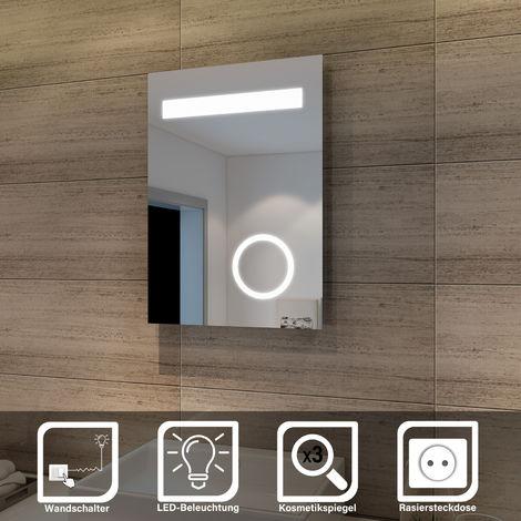 Elegant Badspiegel mit LED-Beleuchtung Badezimmerspiegel mit Schminkspiegel 50 x 70 cm kaltweiß IP44 Energiesparend Bad Spiegel Badezimmer Wandspiegel mit Rasiersteckdose