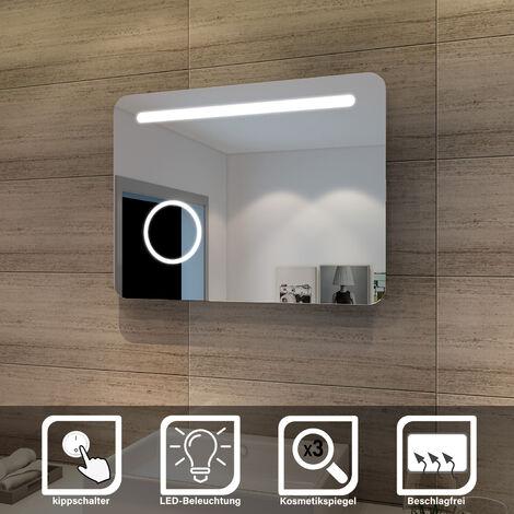 Elegant Badspiegel mit LED-Beleuchtung Badezimmerspiegel mit Schminkspiegel 80 x 60 cm kaltweiß IP44 Energiesparend Badezimmer Wandspiegel Beschlagfrei Bad Spiegel mit Kippschalter