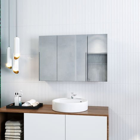 ELEGANT Bathroom Cabinet Triple Mirror 600 x 900 mm Wall Mounted Stainless Steel Storage Cupboard with Adjustable Shelves