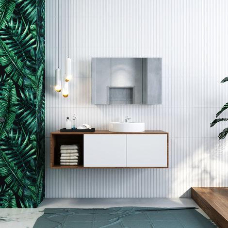ELEGANT Bathroom Cabinet Triple Mirror 600 x 900 mm Wall Mounted Stainless Steel Storage Cupboard with Adjustable Shelves