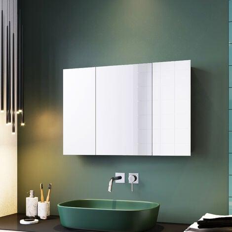 ELEGANT Bathroom Cabinet Triple Mirror Wall Mounted Stainless Steel 600 x 900 mm Modern Storage Cupboard Adjustable Shelves