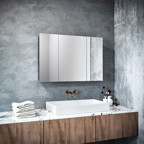 ELEGANT Bathroom Cabinet Triple Mirror Wall Mounted Stainless Steel Modern Storage Cupboard Adjustable Shelves 600 x 900 mm