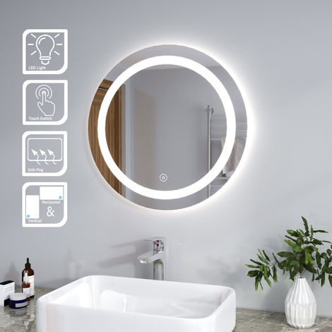 ELEGANT Bathroom Mirror 600 x 600mm Round Illuminated LED Mirror Touch Sensor + Demister