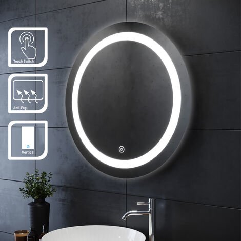 ELEGANT Bathroom Mirror 700 x 700mm Illuminated LED Mirror Touch Sensor + Demister Round