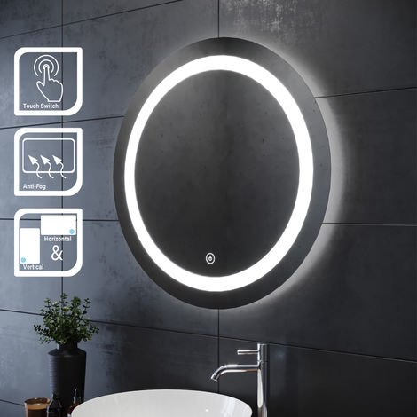 ELEGANT Bathroom Mirror 700 x 700mm Round Illuminated LED Mirror Touch Sensor + Demister