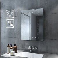 ELEGANT Bathroom Mirror Cabinet with Lights LED Mirror with Shelf Wall Mounted Illuminated Stainless Steel Bathroom Mirror Cabinet Single Door 450 x 600 mm