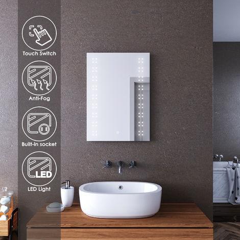"main image of ""ELEGANT Bathroom Mirror Lights Mirror with Shaver Socket 500 x 700mm Bathroom Mirror Anti Fog Wall Mounted Mirror"""