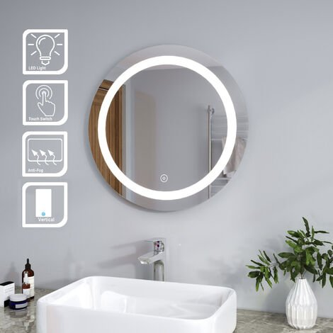 ELEGANT Bathroom Mirror Round Illuminated LED Mirror Touch Sensor + Demister 600 x 600mm