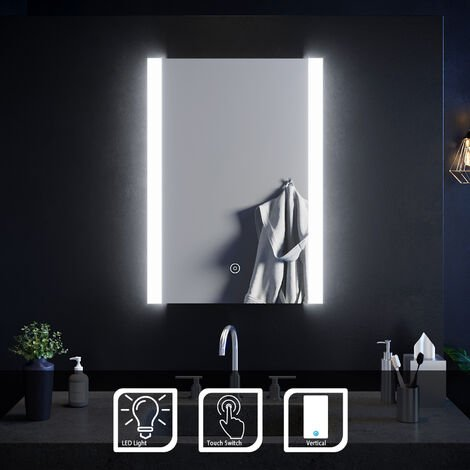 ELEGANT Bathroom Mirror Touch Sensor 700 x 500mm Vertical Illuminated LED Mirror with Light