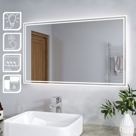 ELEGANT Bathroom Mirror with Light Sensor + Demister 1000 x 600mm Backlit LED Illuminated Mirror